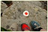 Trail marking with colored dots on the Trail of Atheras, Ikaria